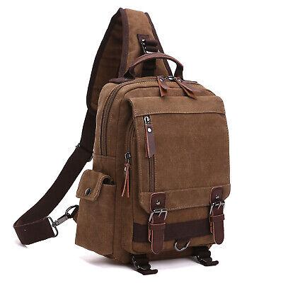 Medium Canvas Backpack School Travel Hiking Rucksack Single Strap Sling Bag