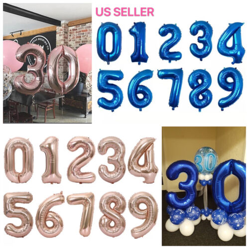 "32"" Blue Pink Navy Digital Number Balloons Large Big Foil Mylar Birthday Party"