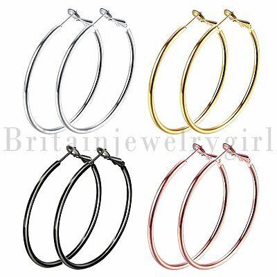 4pairs Stainless Steel Flat Round Big Ring Hook Hoop Earrings Women Girls Party Hoop Round Ring