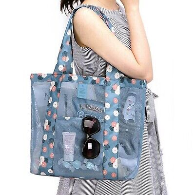 CoreLife Rubber Mesh Large Beach Tote Bag Double Handle Shoulder with Pockets - Tote Bag With Pockets