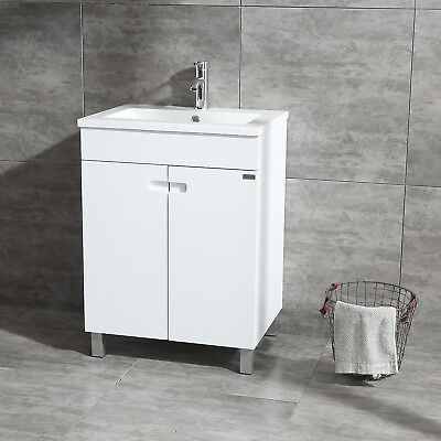 "Present-day 24"" Single Bathroom Vanity Wood Cabinet With Undermount Resin Sink Faucet"