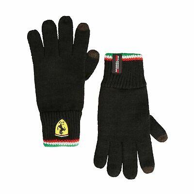 Official Scuderia Ferrari Knitted Gloves Black F1 Winter