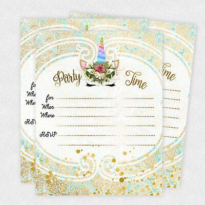 Unicorn Gold Birthday Party Invitations Favors Decorations Girl Slumber Party 20 Birthday Invitations Decorations