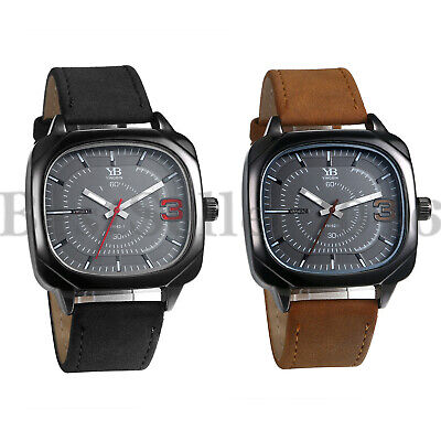 Mens Boys Square Dial Sports Quartz  Watches PU Leather Band Analog Wrist Watch Dial Leather Watch Band