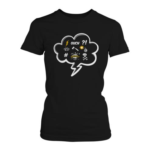 Comic Fluch Damen T-Shirt Fun Shirt Motiv Ausrasten Arbeit Job Freizeit Lustig