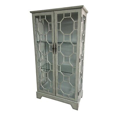 Crestview Evelyn 2 Door Painted Grey Glass Curio with Fretwork (Painted Curio)
