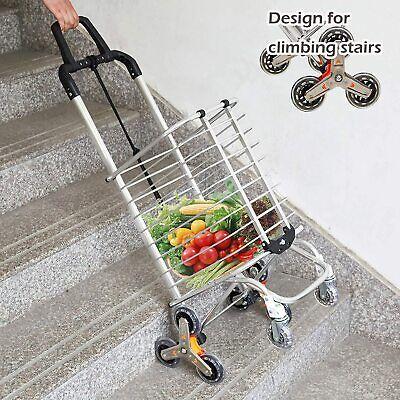 Koreyosh Collapsible Shopping Cart Stair Climber W 8 Rolling Swivel Wheels Easy
