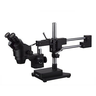 Amscope 3.5x-90x Binocular Stereo Zoom Microscope Black Double Arm Boom Stand