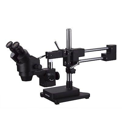 Amscope 3.5x-90x Binocular Stereo Zoom Microscope Black Double Arm Boom Stand