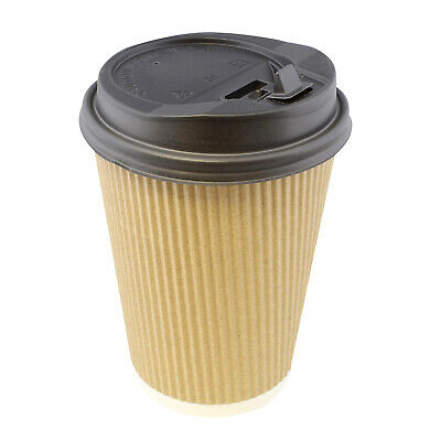 Brown Paper Cups (Lot45 Paper Cups with Lids, 100 Pk - 12 oz Coffee Cups Rippled Sleeve,)