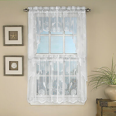 Reef Marine White Knit Lace Kitchen Curtains Choice of Tier, Valance or Swag Curtains & Drapes