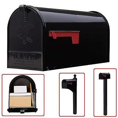 LARGE MAILBOX Galvanized Steel Postal Storage Black Post Mount Street Mail Box
