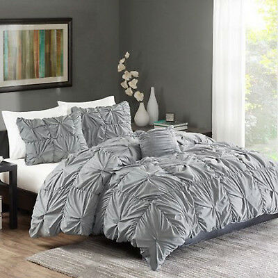 4-Piece Ruched Bedding Set KING Size Bed GRAY Duvet Cover Shams Pillow Twist