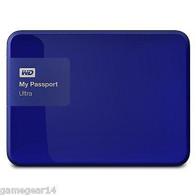 WD Western Digital MyPassport Ultra 1TB USB3.0 Portable External Hard Drive Blue
