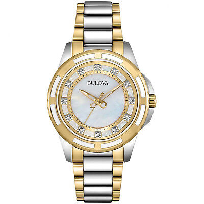 Bulova Women's Quartz Diamond Markers Mother of Pearl Dial 36mm Watch 98P140