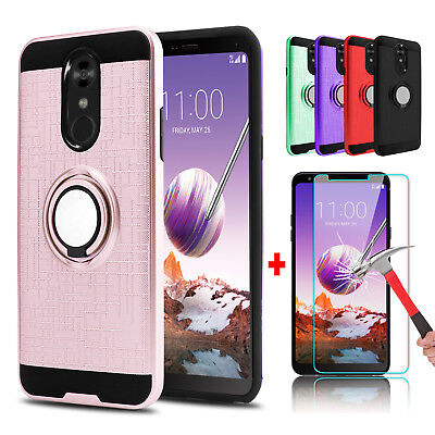 - For LG Stylo 4/4 Plus Hybrid Slim Ring Stand Phone Case + Glass Screen Protector