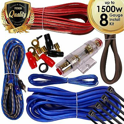 Complete 1500W 8 Gauge Car Amplifier Installation Wiring Kit Amp PK2 8 Ga  Blue