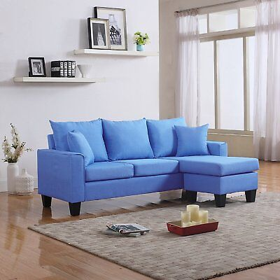Modern Linen Fabric Small Space Sectional Sofa with Reversible Chaise (Sky Blue)