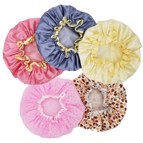 Women Shower Cap Double Layer Silk Satin Cover Waterproof Reusable -Random Color