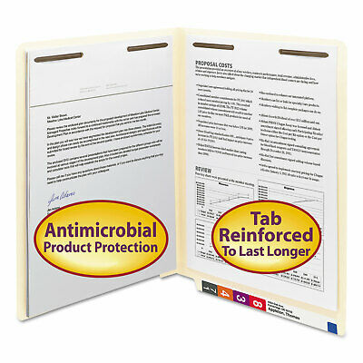 Smead Antimicrobial Two-fastener End Tab Folder Letter 11 Point Manila 50box