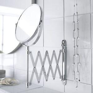 Wall Mounted Folding Extending Makeup Shaving Magnifying Chrome Bathroom Mirror