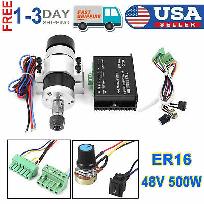 Er16 500w High Speed 48v Dc Air Cooling Brushless Spindle Motor Driver Clamp