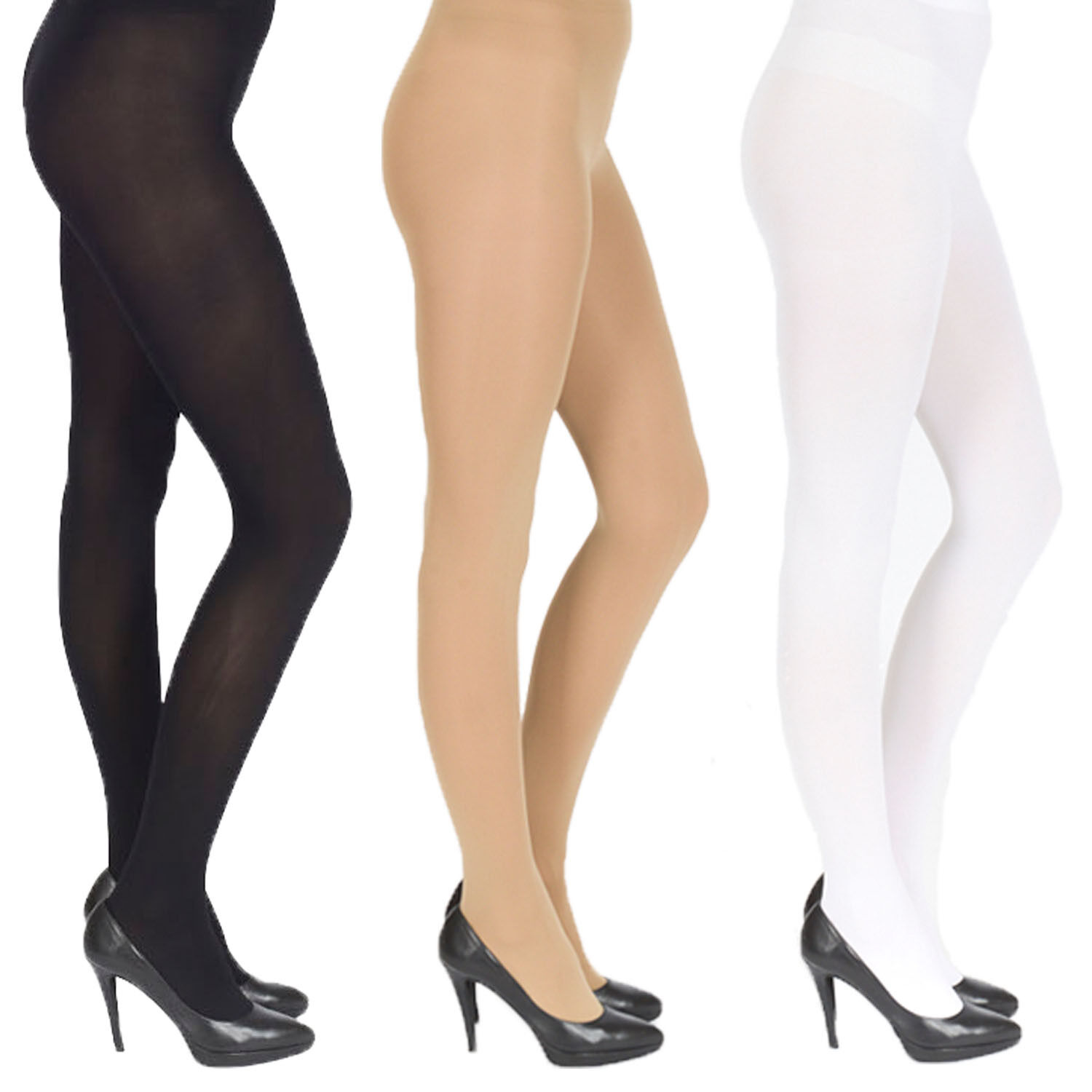 44423ae4b07 Details about 5 x Pair Pack Opaque Tights, Extra Thick 40, 60, 100 Denier,  Womens Ladies Girls