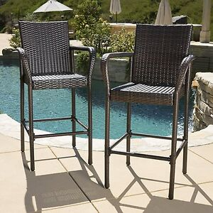 Kinbor Set of 2 Wicker Bar Stool High Chairs Outdoor Pool w/ Seat Cushions & Wicker Bar Stools | eBay islam-shia.org