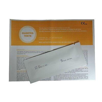 5 x Diabetes - Glucose - Ketone Urinalysis Home Urine Test Kit Strips