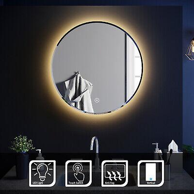 Round LED ILLUMINATED Bathroom Mirror Make Up Warm Light Smart Touch Control