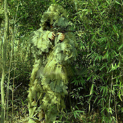 (Fidragon Ghillie Suit Woodland Green Camouflage Ultra Light Camo Large)