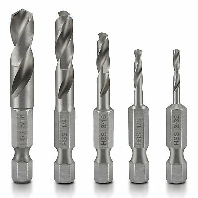 Neiko 11402A Stubby Drill Bit Set for Metal, 5 Piece | 1/4-Inch Quick Change Hex