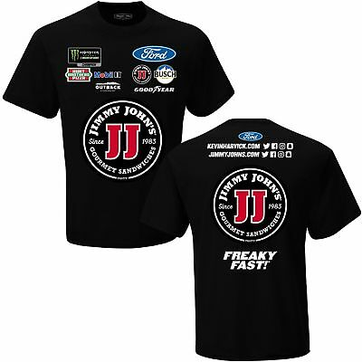 2018 Kevin Harvick  4 Jimmy Johns Black Uniform Nascar Tee Shirt