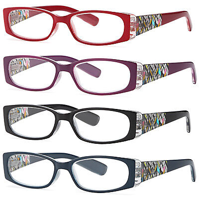 ALTEC VISION Stylish Frame Readers Spring Hinge Womens Reading Glasses, 4 pack