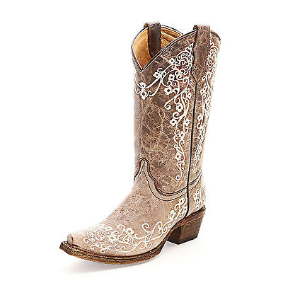 KIDS YOUTH CORRAL COWGIRL BOOTS! NIB! A2773-FLORAL EMBROIDERED-FREE - Childs Cowgirl Boots