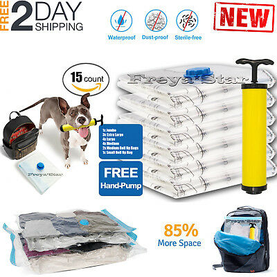 15pc Vacuum Storage Bags Space Saver + Hand Pump For Travel Triple Seal Clothes (Clear Storage Bags)