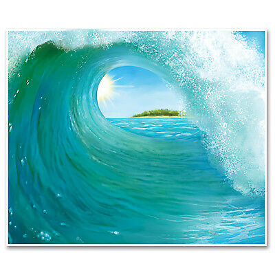 5ft x 6ft Luau Party Surf's Up SURF WAVE Backdrop wall mural photo prop BANNER - Luau Background
