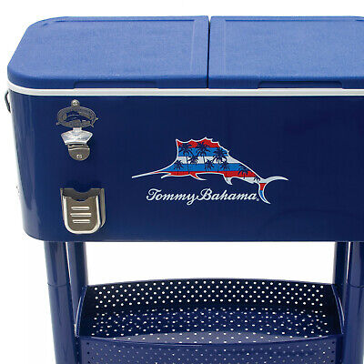 Tommy Bahama New Stainless Patio Rolling Cooler Ice Chest 77