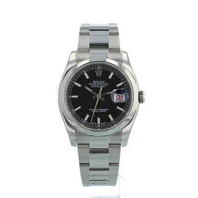 Rolex Datejust 36 116200 Stainless Steel Black Dial Box and Papers 2017