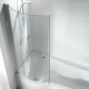 P Shape Curved Bathroom Pivot Glass Shower Bath Screen Hinged with Knob
