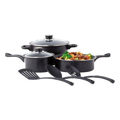 Non Stick Cookware Set Black Carbon Steel 8 Pcs Stock Pot Utensils Fry Sauce Pan