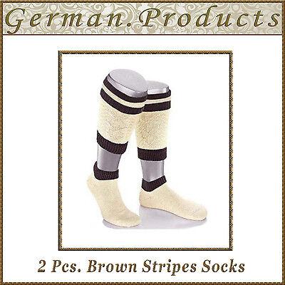 Lederhosen German Bavarian Oktoberfest Trachten 2 Pcs. Brown Stripes Socks - Lederhosen Socks