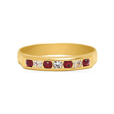 Yellow Gold Half Eternity Band, Red Cubic Zirconia Anniversary Ring for Women