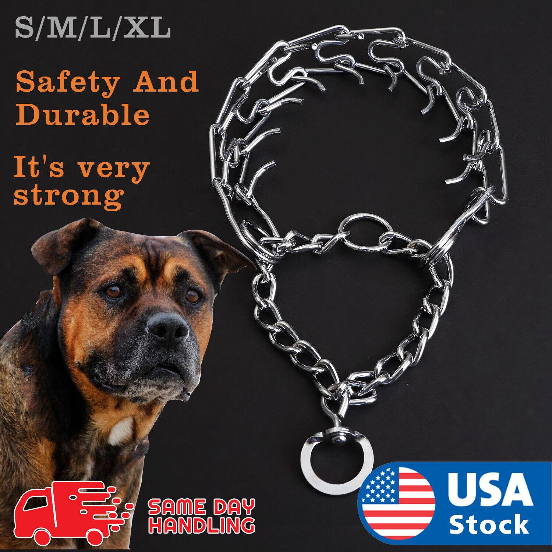 Pets Dog Training Guardian Gear Collar Chain Pet Metal Prong Pinch Choke Collars