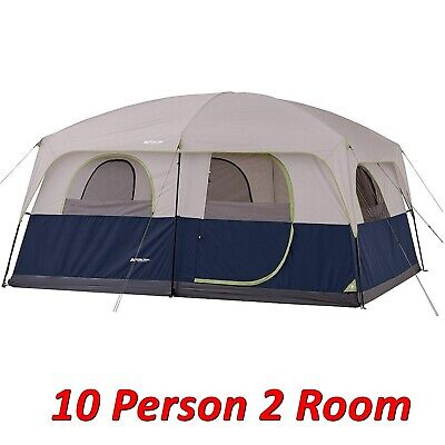 10 Person Cabin Tent - Ozark 10-person 2 Room Cabin Tent Waterproof Rainfly Camping Hiking Outdoor NEW!