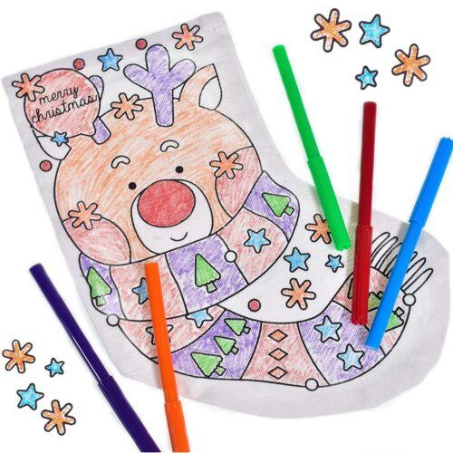 Colour+Your+Own+Christmas+Stocking+Art+Craft+Kids+Boys+Girls+Pens+Xmas+Filler+