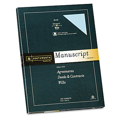 Southworth 25 Cotton Manuscript Covers Blue 30 Lbs. Wove 9 X 12-12 100box