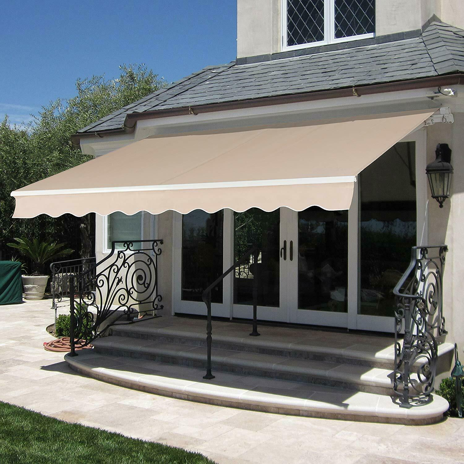ALEKO Sunshade Half Cassette Retractable Patio Deck Awning 16x10 ft Burgundy