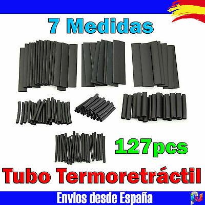 127Pcs Surtido Tubo Termoretractil de Color negro Aislante para cables 7 medidas