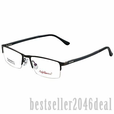 Mens Business Half Rimless Glasses Optical Frame Eyeglasses Clear Lens Eyewear